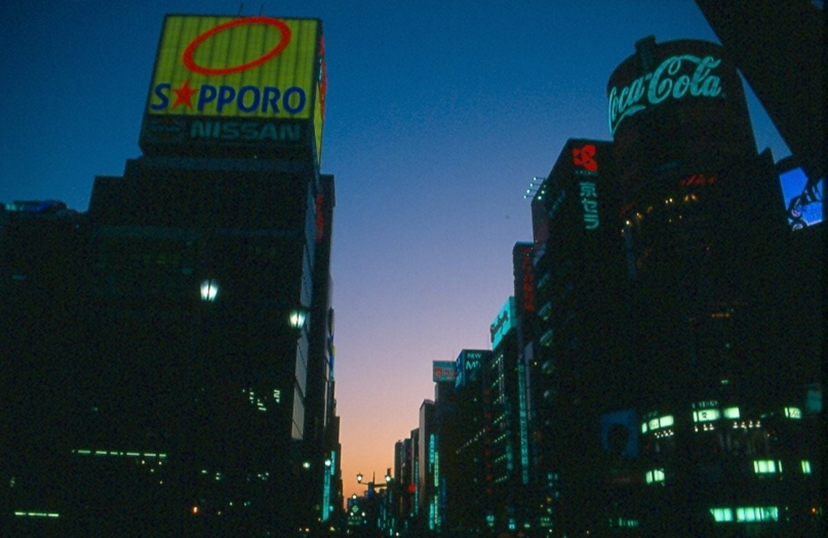 Ginza gets ready for the evening. Tokyo.