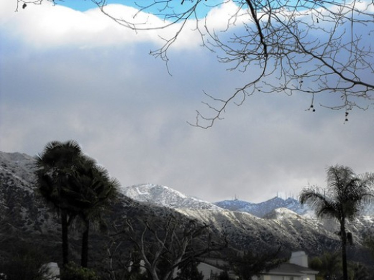 "A rare dusting of snow on the foothills above Route 66 in La Verne. Feb. 10, 2010. The ""L"" is clearly visible."