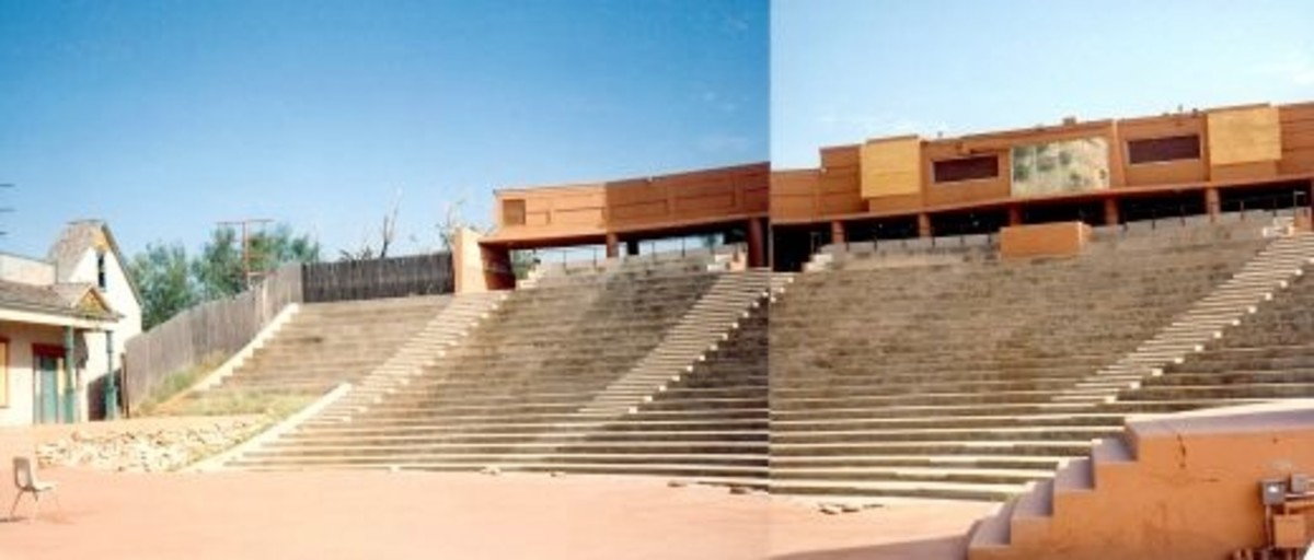 Pioneer Ampitheater seating in Palo Duro Canyon - Two of my photos pieced together showing just a portion of the seating.