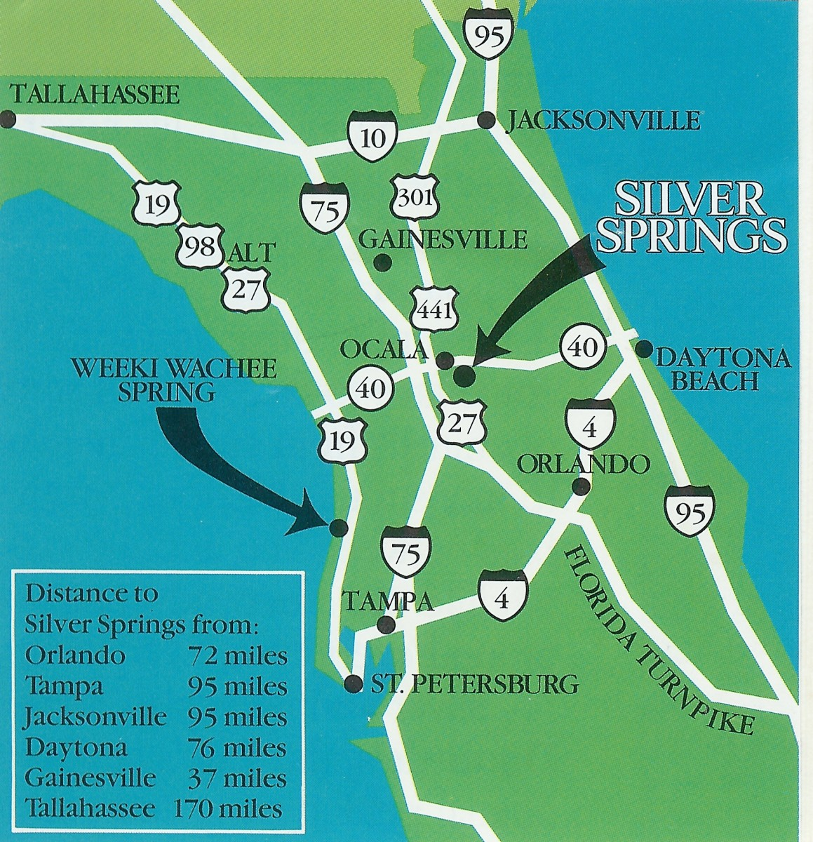 The location of Silver Springs in the north-central part of Florida