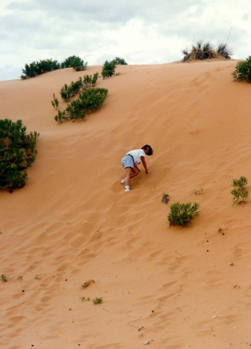 My niece climbing up one of the coral pink sand dunes