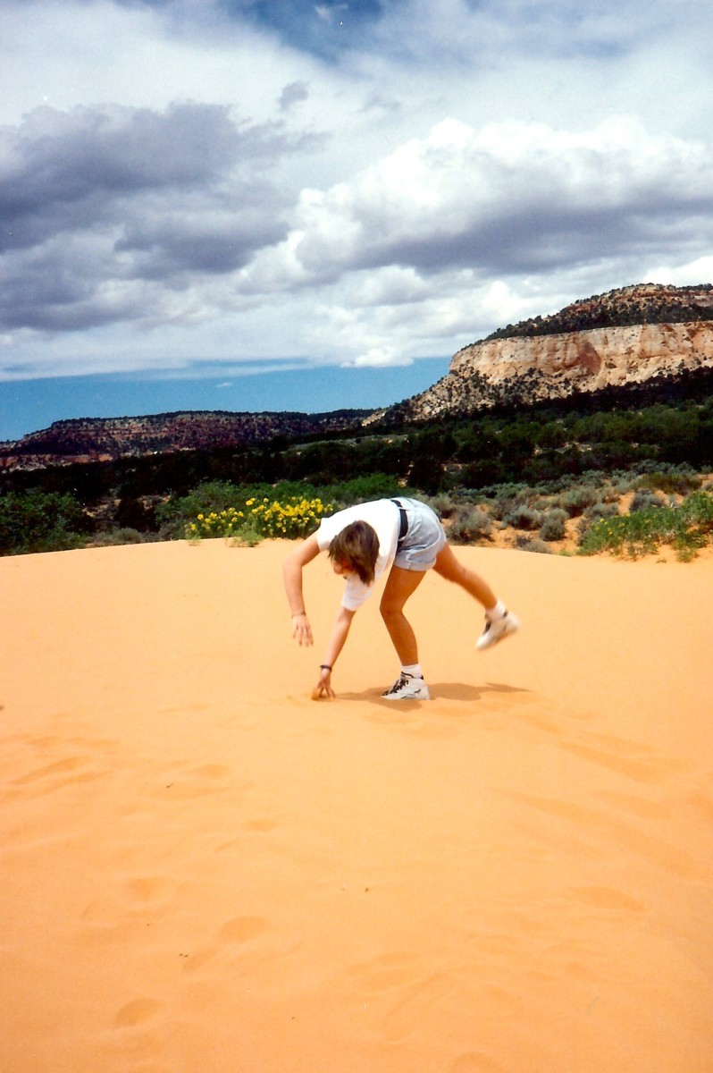 Having some fun at the Coral Pink Sand Dunes State Park in Utah.