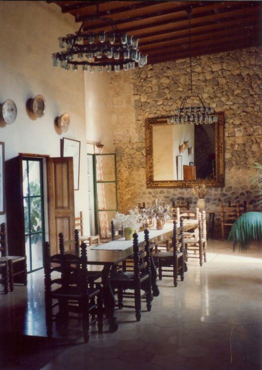 Dining room inside Son Marroig on the Island of Mallorca