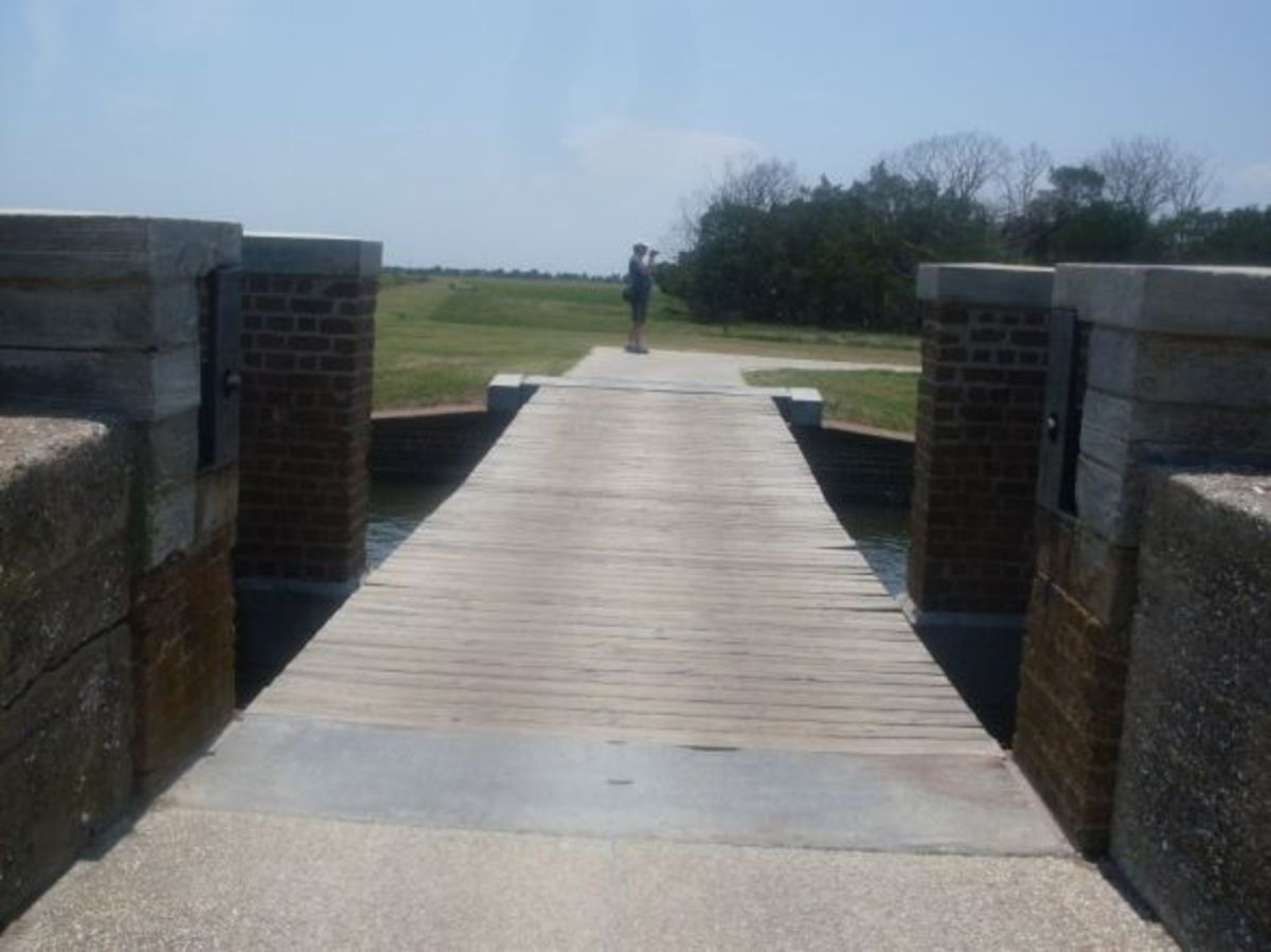 Bridge across moat to go inside Ft Pulaski.