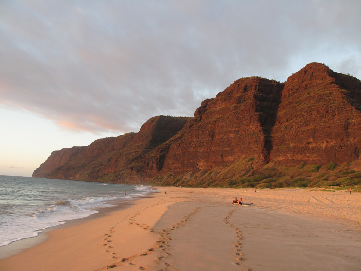 Polihale Beach, looking out to the Na Pali Coast