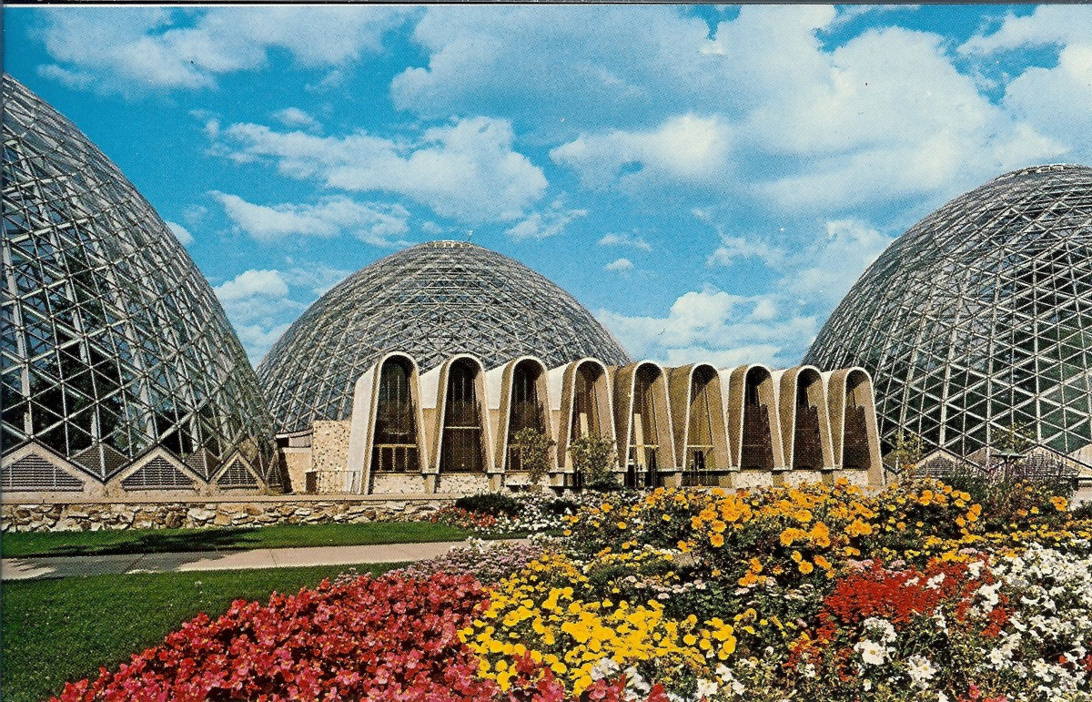 Old postcard photo of the MItchell Park Domes