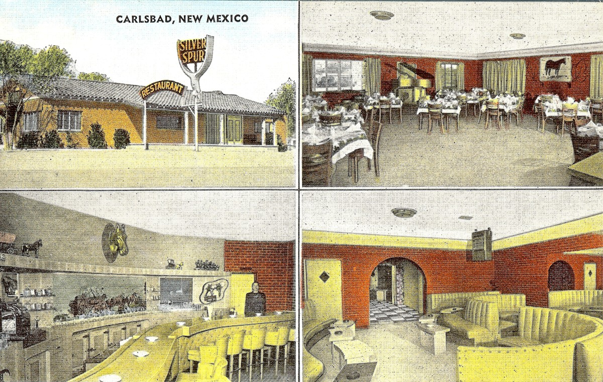 Vintage non-copyrighted postcard Carlsbad, NM where my grandparents dined many years ago while in this area.
