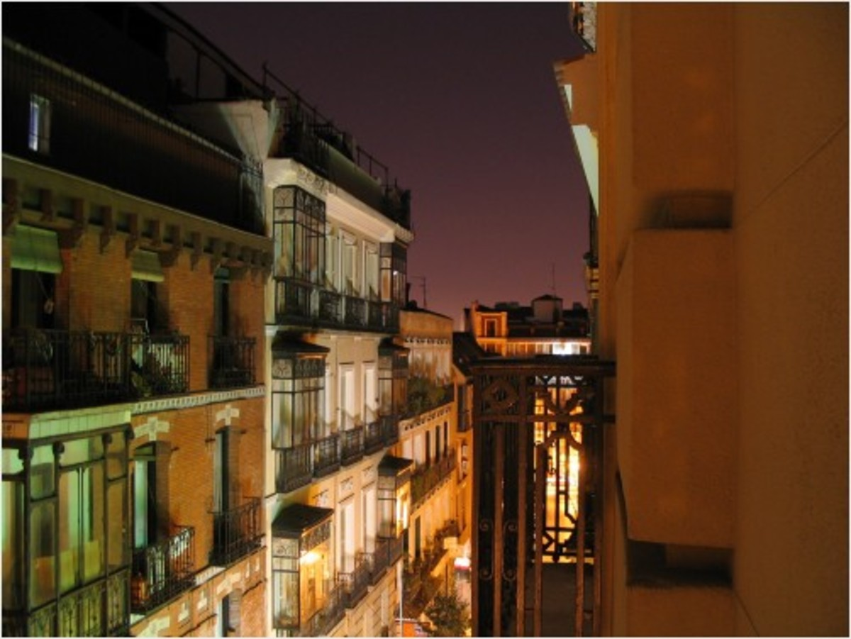 Madrid street at night as seen from the balcony of my hostel