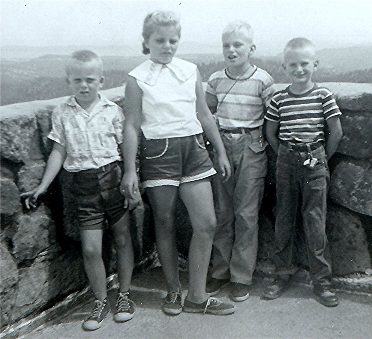"""In observation building on top of Mount Coolidge - Johnny, Peggy, Tommy & Billy"""