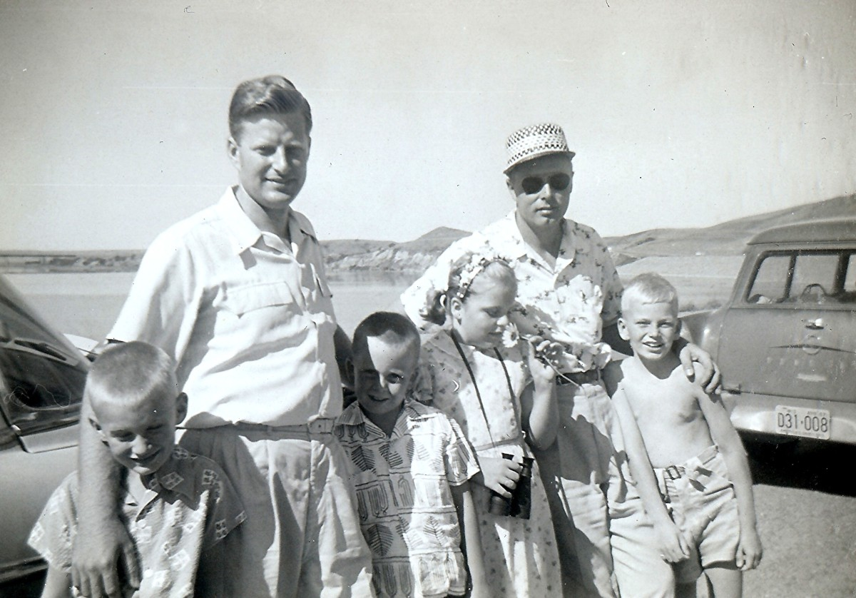 2 Families Posing with Missouri River Behind Them, 1950s (Billy, Uncle Russ, Johnny, Peggy, my Dad, Tommy)