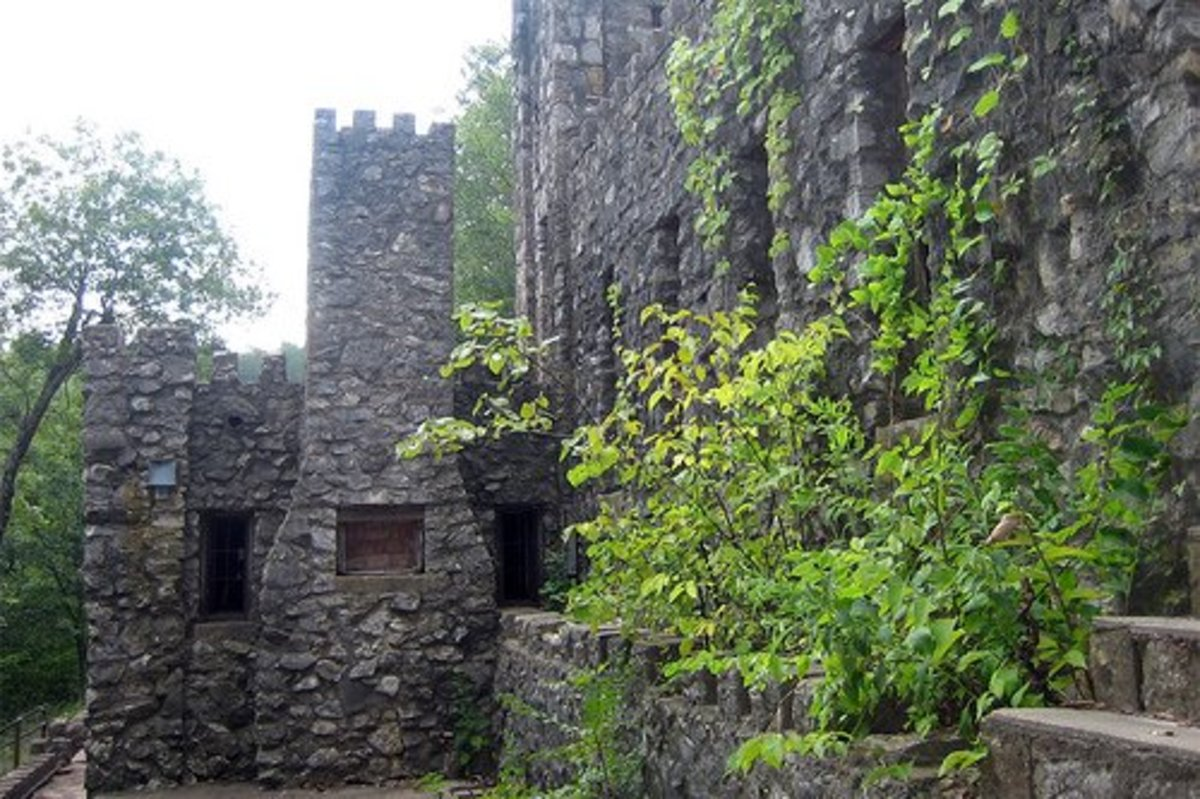 Oklahoma Castles: View of Collings Castle at Turner Falls from the lower courtyard.