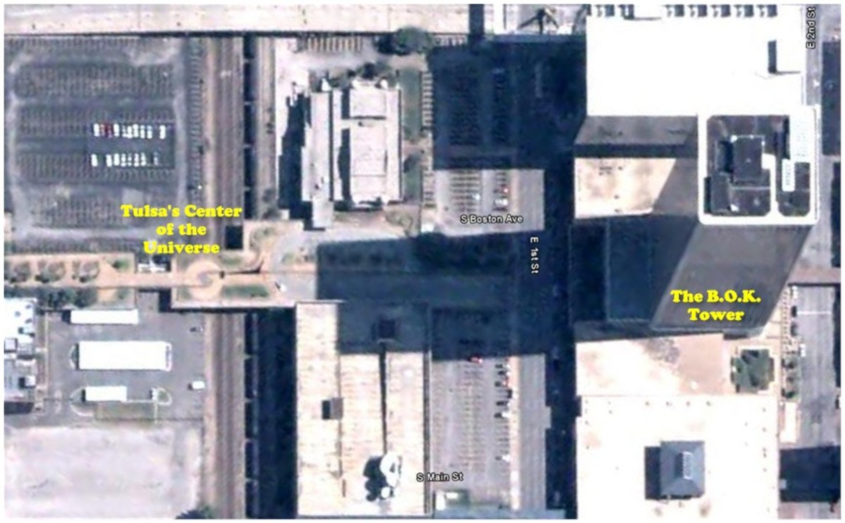 Google Map of the Center of the Universe in Downtown Tulsa.  Click for larger size.