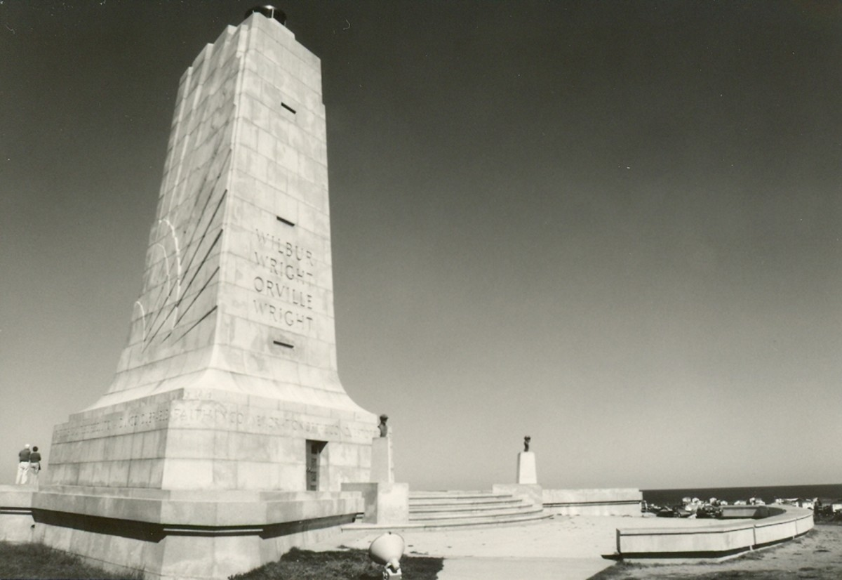 The Wright Brothers Memorial at Kitty Hawk.