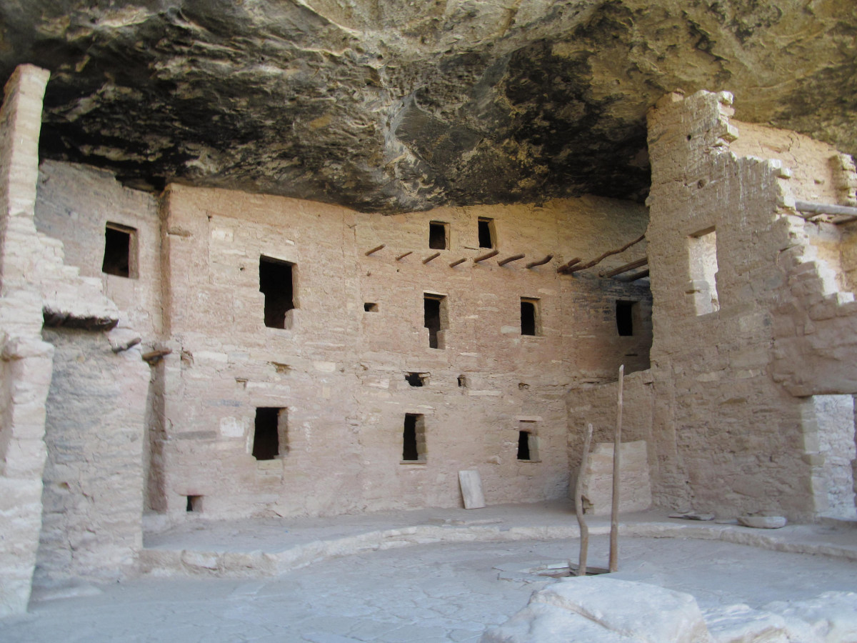 Spruce Tree House as it appears today.  Just imagine a balcony perched up on those poles sticking out from the wall!