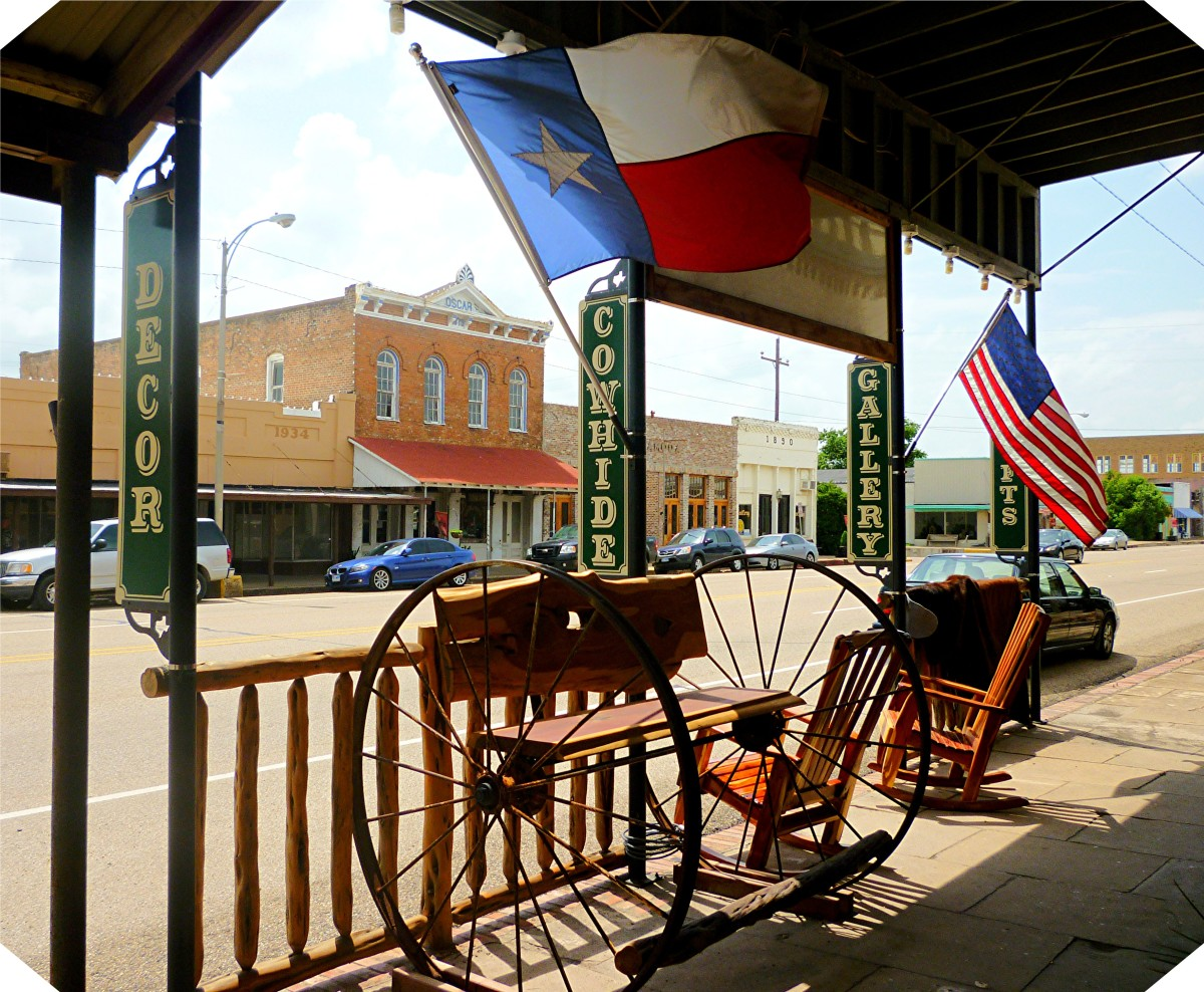 Outside Big Cedar Furniture in Calvert, Texas