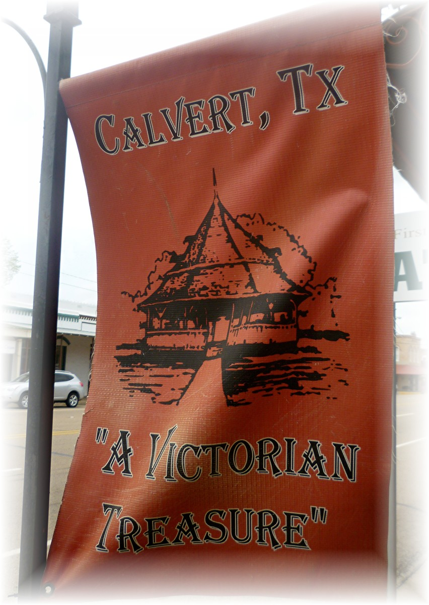 Flags displayed on the Main Street ( Highway 6 ) in Calvert