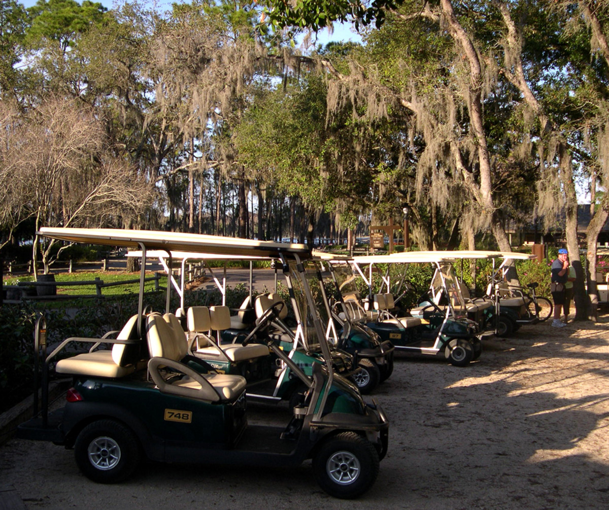 Golf cart parking is found throughout the resort, including at the cabins - most locations include power outlets to charge the battery while you're away.