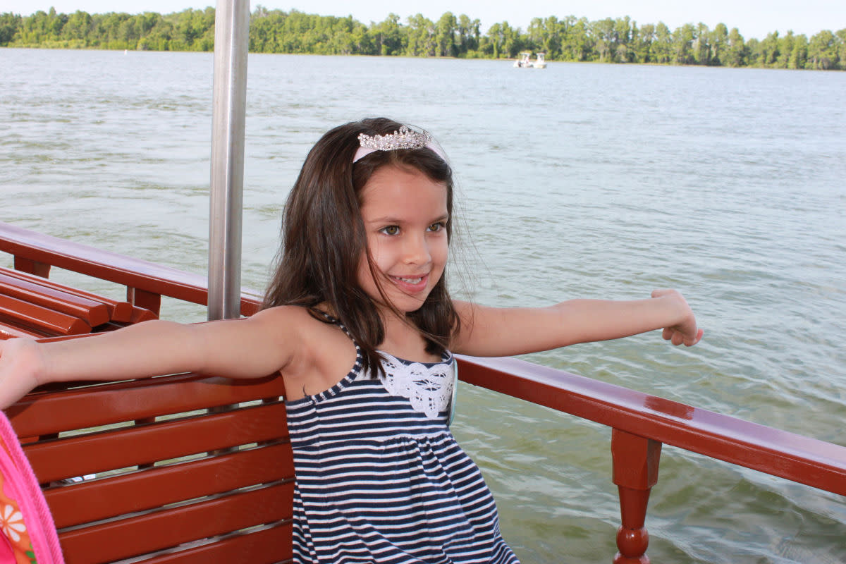 Enjoying the boat ride to the Magic Kingdom from Fort Wilderness.