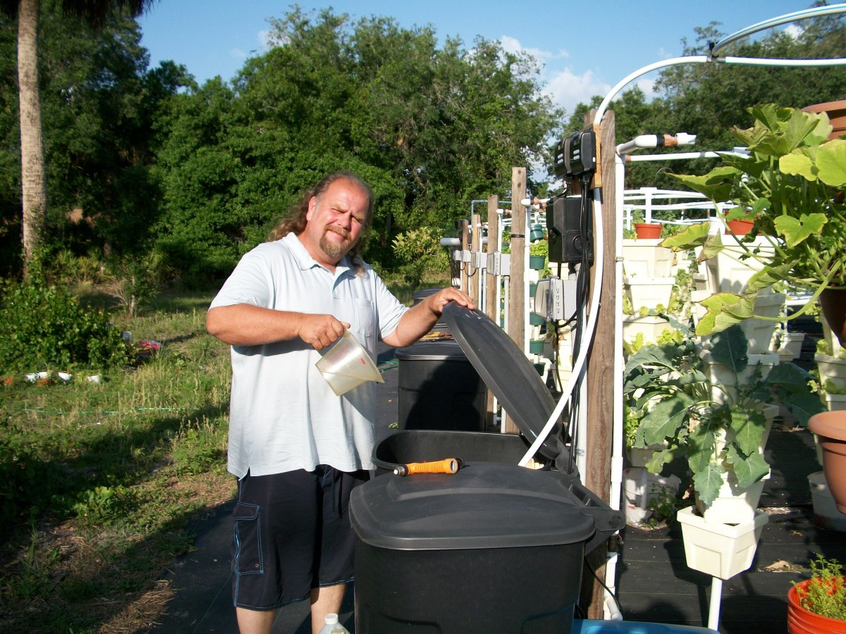 Kevin -- seen here preparing the water/food for the growing crop.