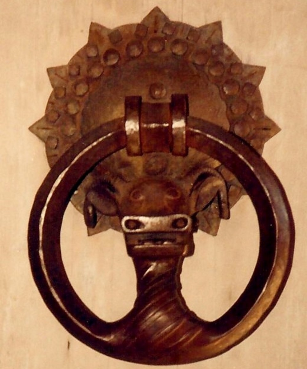 Hand forged door knocker at Timberline Lodge