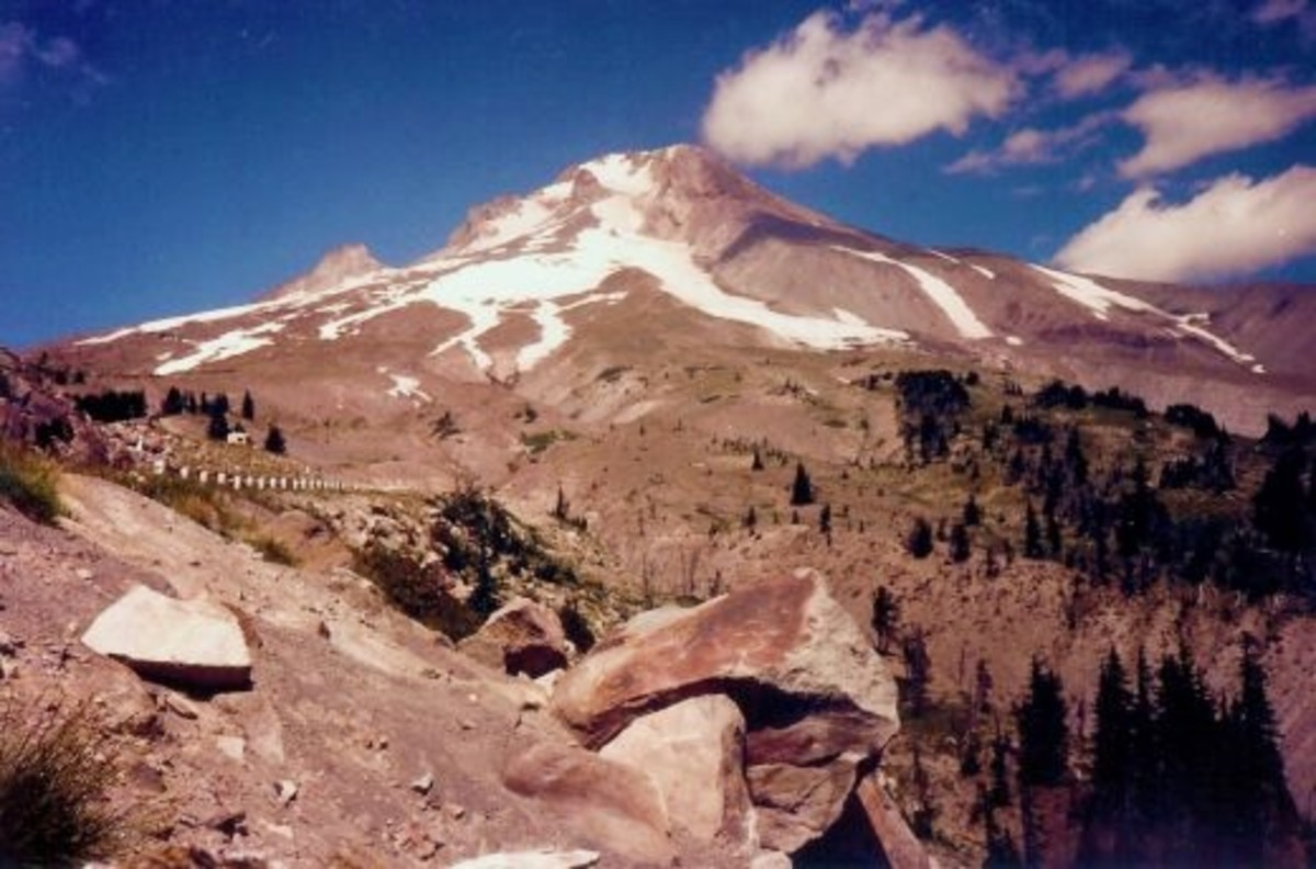 Mount Hood as seen from Timberline Lodge in August