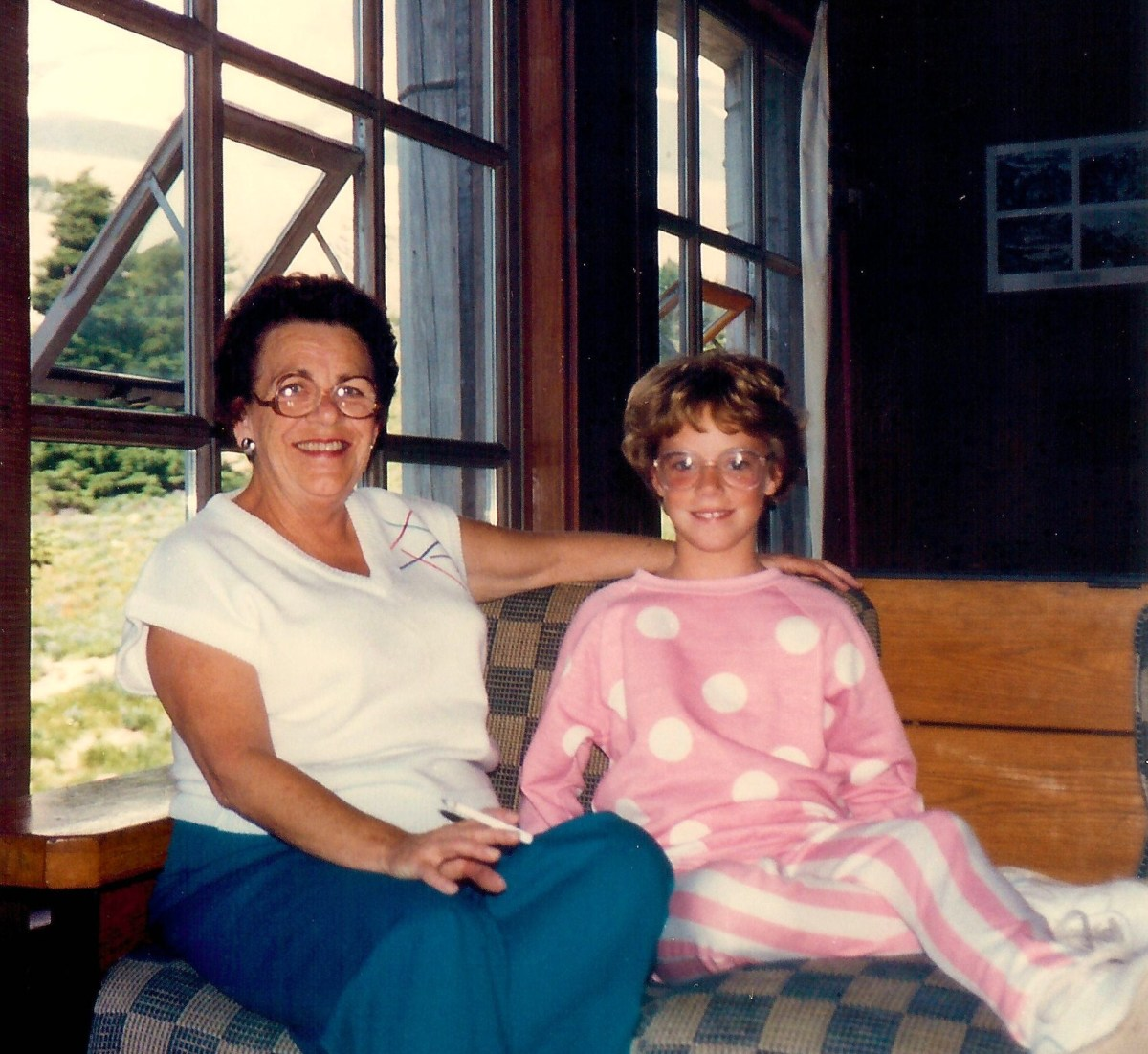 My mother and niece at Timberline Lodge