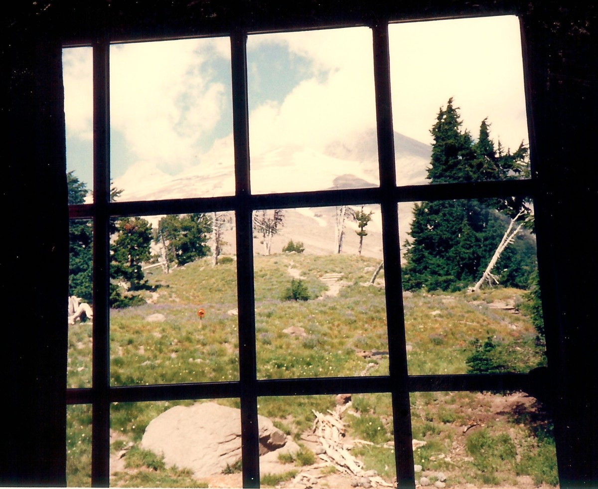 Looking out one of the Timberline Lodge windows at Mount Hood.