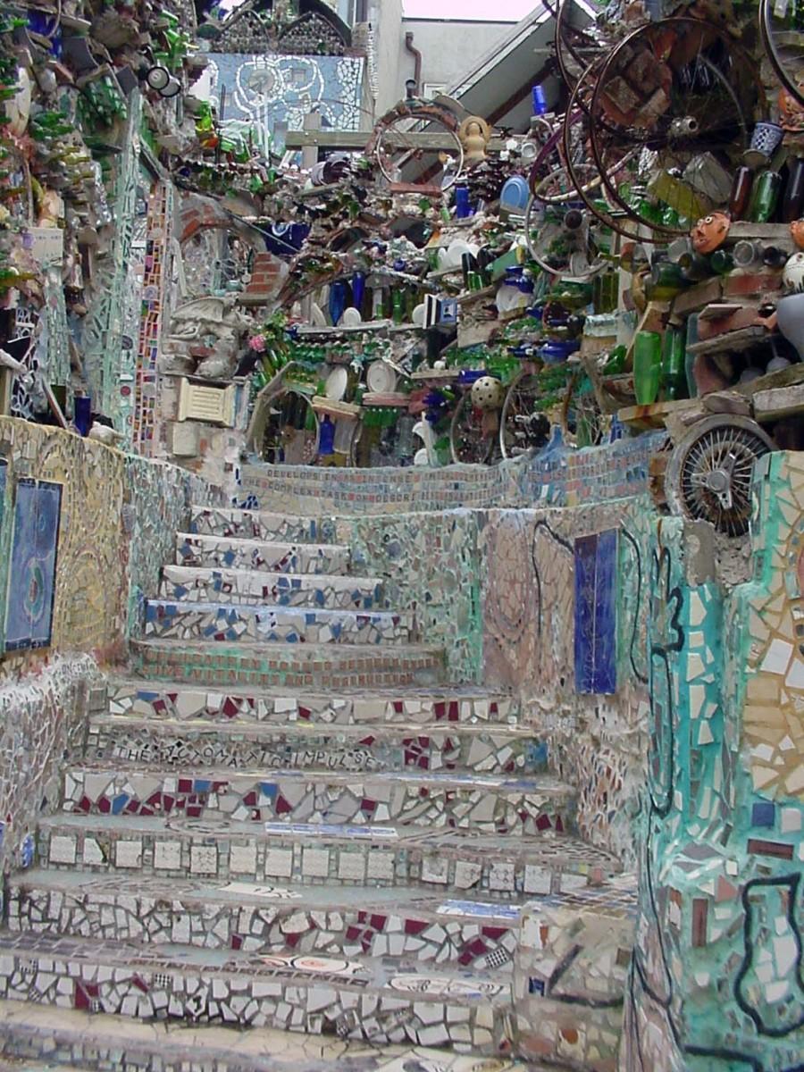 Beautiful mosaic stairway.