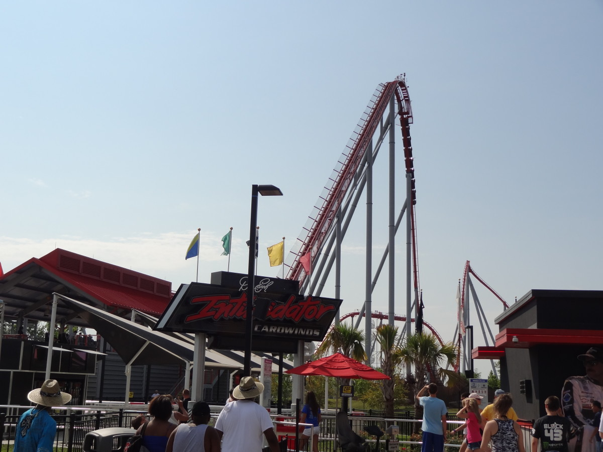 The lift hill for the Intimidator roller coaster at Carowinds.