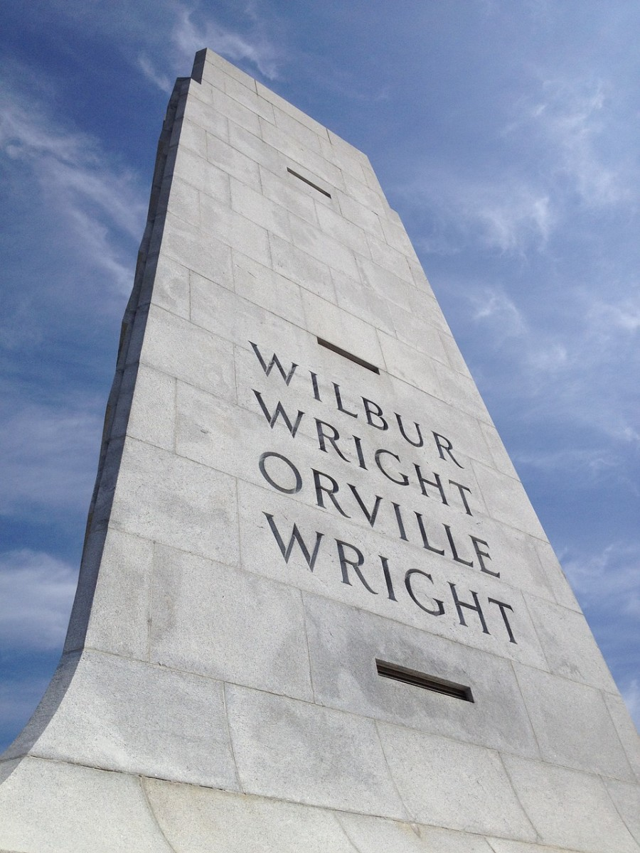 The Wright Brothers tower located at the site where they conducted the first airplane flight.