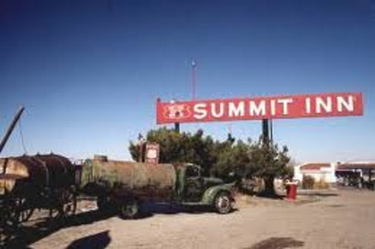 On the historic Route 66 travelers could get out and kiss the earth after reaching the summit of the pass safely.  When you got to go, you could kiss the earth that you reached the Summit Inn in time.
