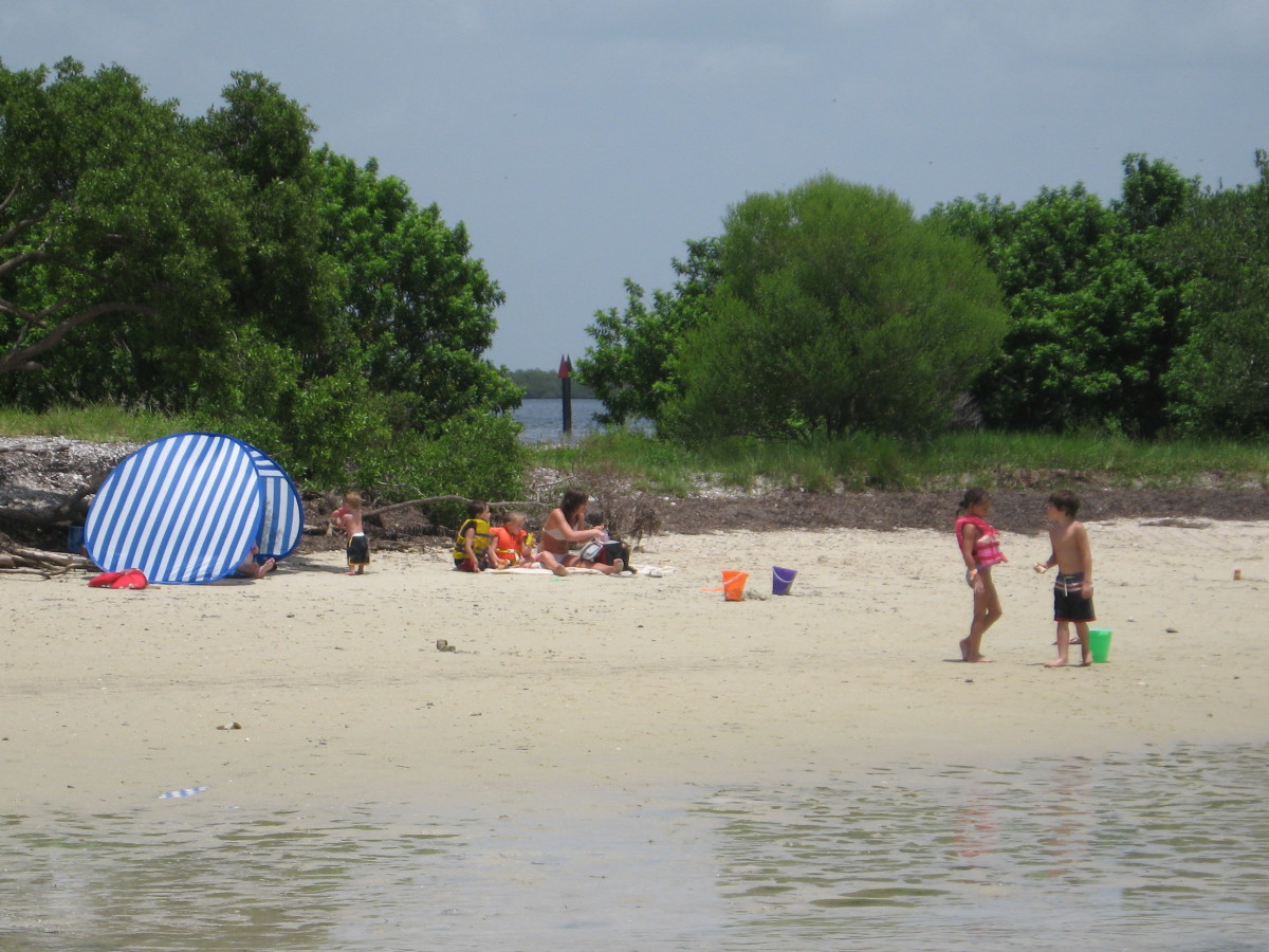 Our own secluded beach on the private island.