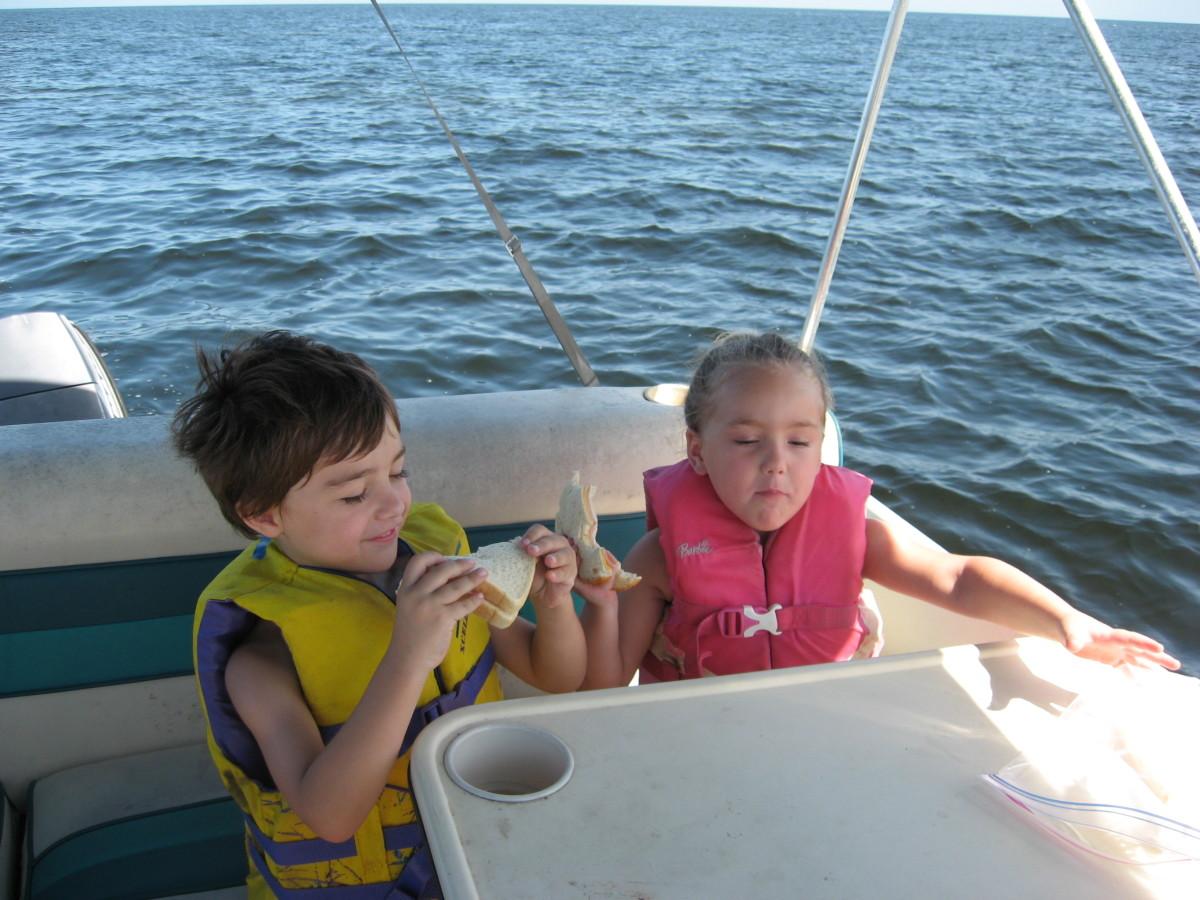 Fun on the pontoon boat.