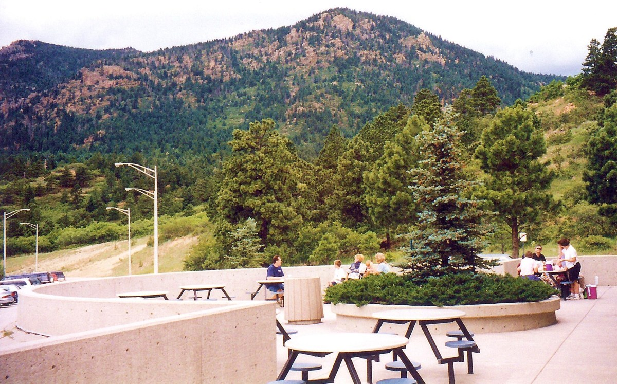 Air Force Academy grounds - Visitors can picnic in this area and some were taking advantage of this beautiful outdoor setting.