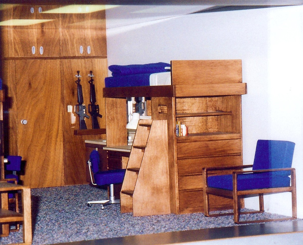 Mock up of a typical cadet's room on display