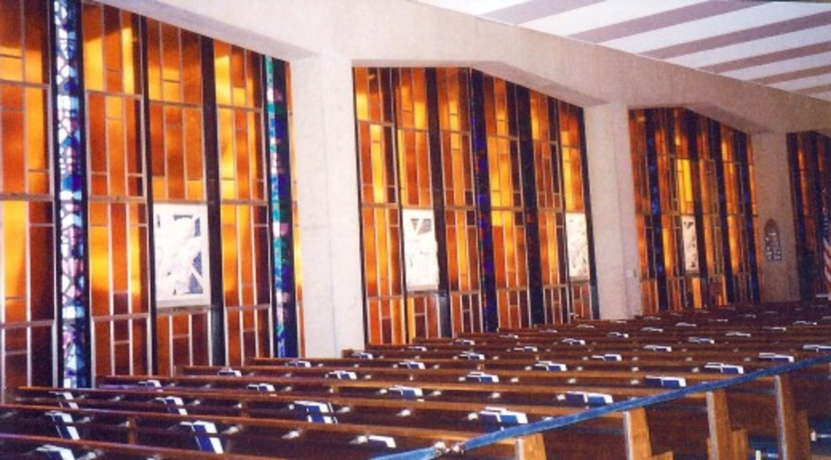 Pretty stained glass windows in the Catholic part of the chapel at the Air Force Academy