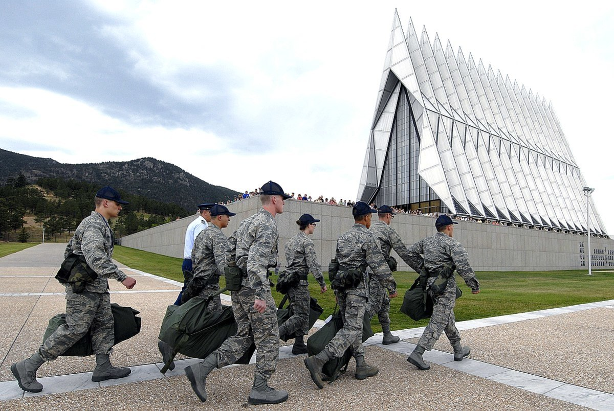 The Class of 2012 basic trainees march past the Cadet Chapel on the first day of basic training at the U.S. Air Force Academy, Colo., June 26, 2008. In-procesing marks the start of 38 days of Basic Cadet Training. U.S. Air Force photo by Mike Kaplan