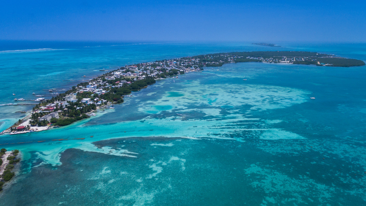 The island of Caye Caulkner just off the coast of Belize.
