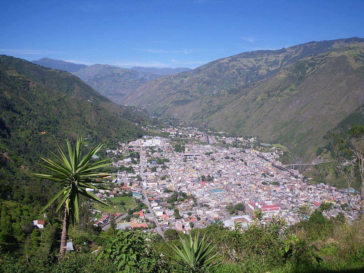 Baños, Tungurahua, as viewed from the eastern mountains on 18 November 2011.