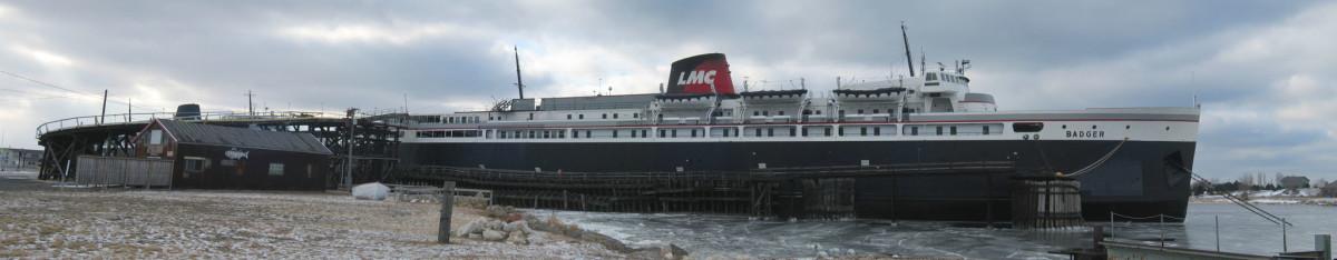 The S. S. Badger sails across Lake Michiigan between Manitowoc and Ludington, Michigan