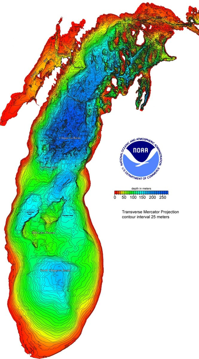 Depth in meters:  Lake Michigan
