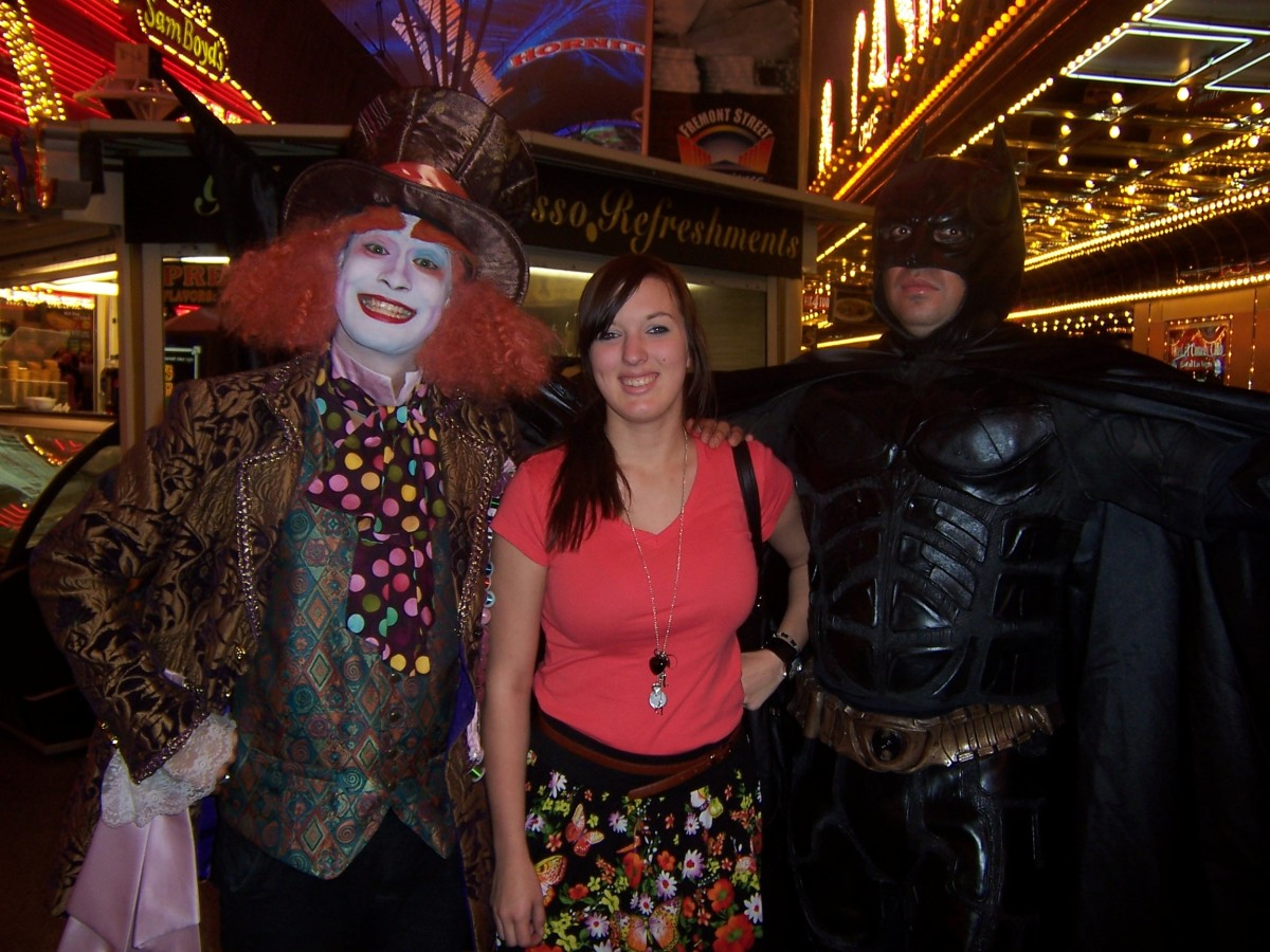 Meet the Mad Hatter and Batman—two of the many characters you can meet and have your photo taken with on Freemont Street in downtown Las Vegas.