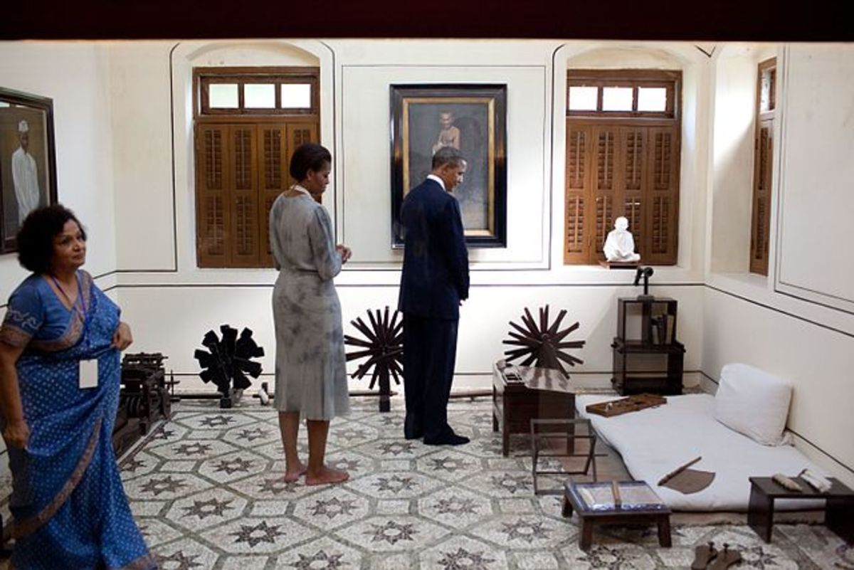 Former US President Barack Obama in Gandhi's Room at Mani Bhavan