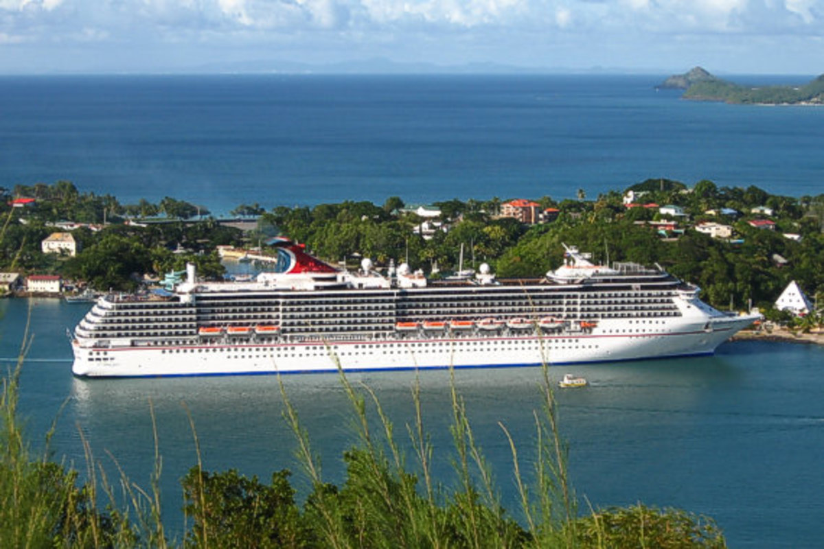 Carnival cruise ship docked in St Lucia