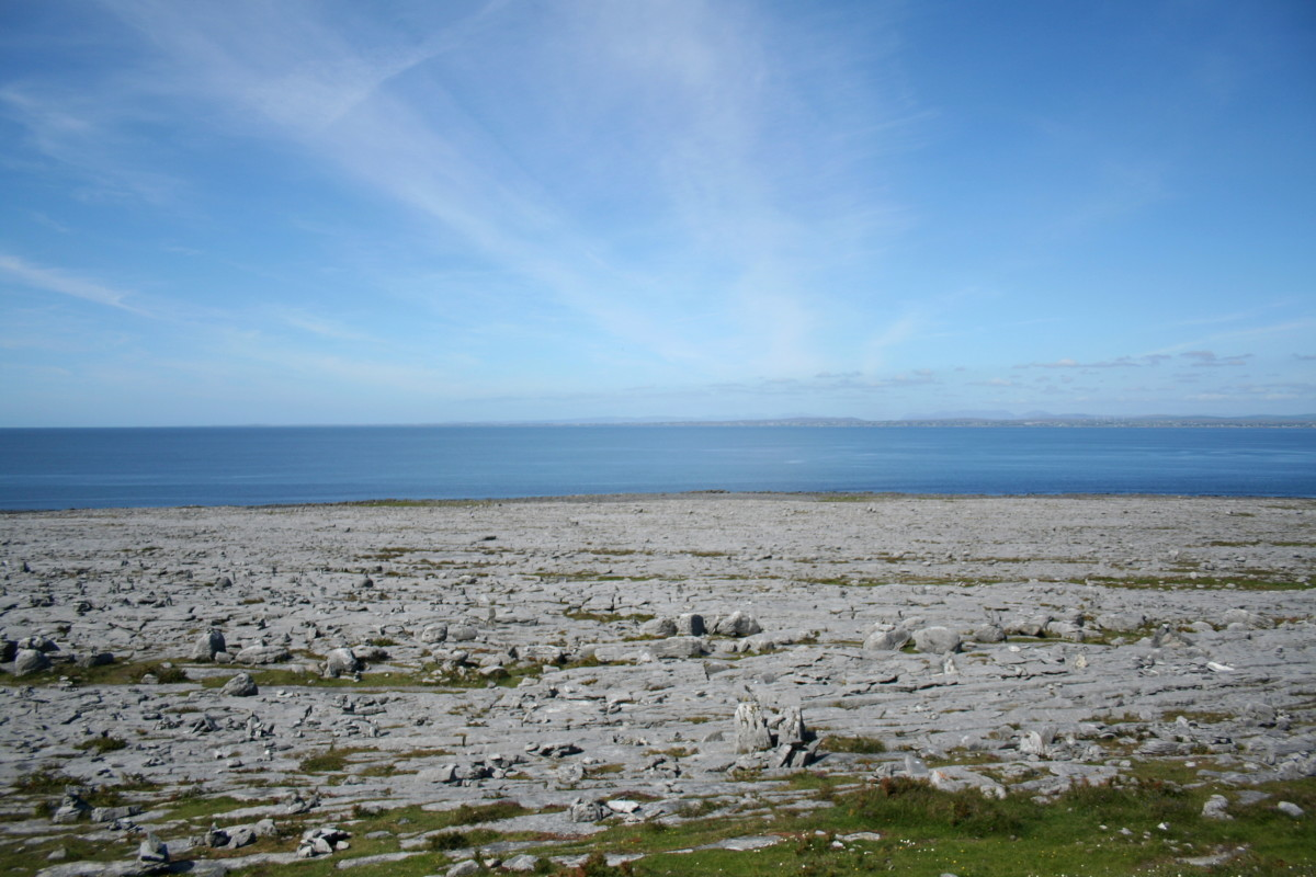The karst landscape of the Burren overlooking Galway Bay.