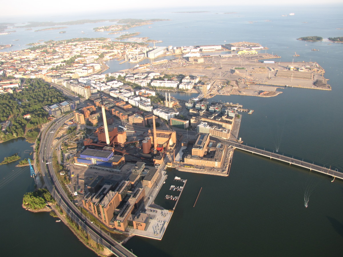 Overhead view of Helsinki West Harbour. From here it is only a three hour ferry journey to Tallinn in Estonia.