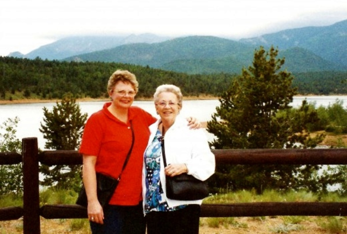 My mother and me with Crystal Reservoir in background.