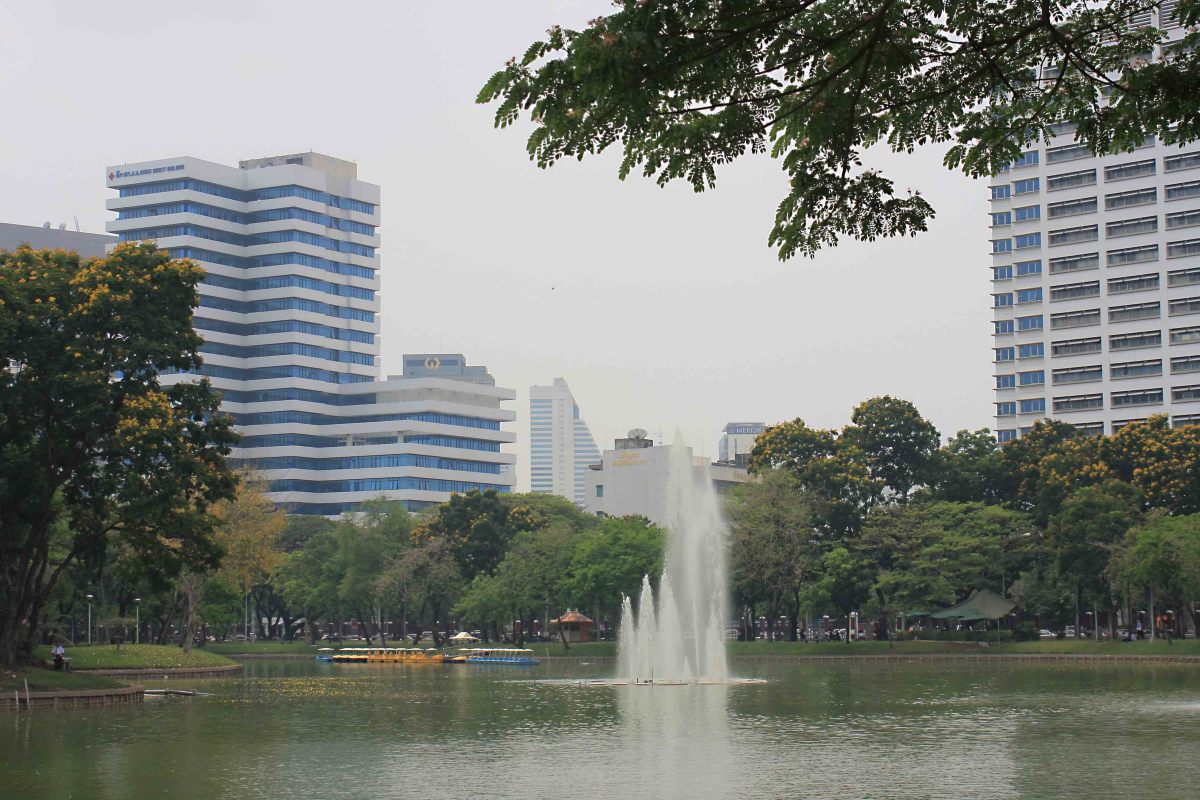 Lumpini Park lake and fountain. The tranquil boating lake is the life-blood of the park and the main attraction for many park visitors - a total contrast to the hectic city beyond