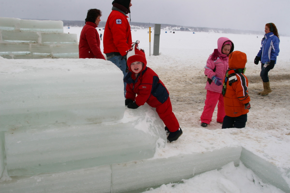 The ice castle is made from blocks of ice harvested from Chautauqua Lake.