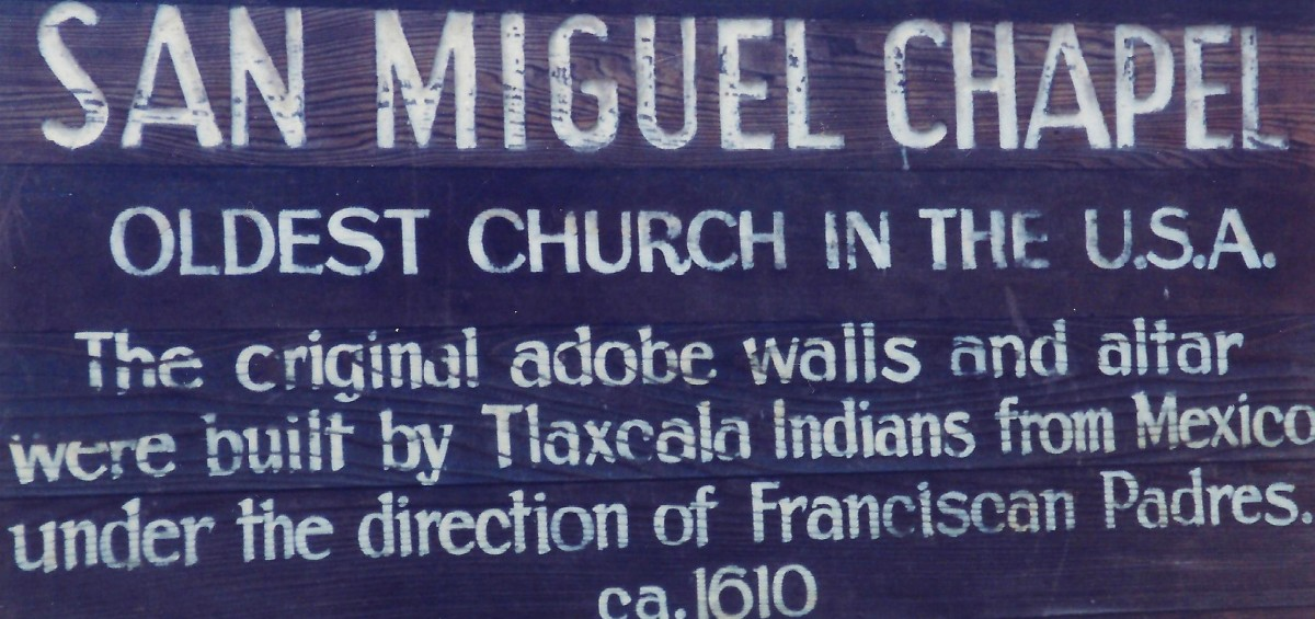 Sign outside of the oldest church. San Miguel Chapel in Santa Fe